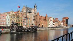 Old Town in Gdansk, Poland. Promenade along Motlawa river Footage