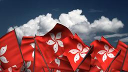 Waving Hong Kong Flags Animation