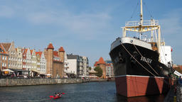 Old town in Gdansk and Soldek museum ship Footage