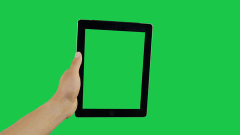 Scroll Up Digital Tablet Green Screen Archivo
