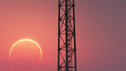 5G Telecommunication Tower Antennas Sunset 4 Animation