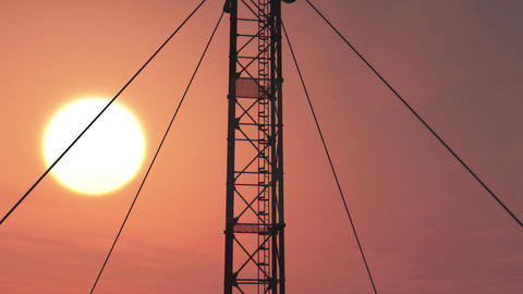 5G Telecommunication Tower Antennas Sunset 13 Animation