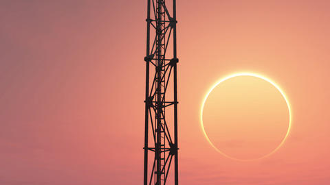 5G Telecommunication Tower Antennas Sunset 7 Animation