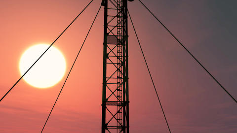 5G Telecommunication Tower Antennas Sunset 15 Animation