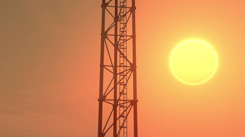 5G Telecommunication Tower Antennas Sunset 2 Animation