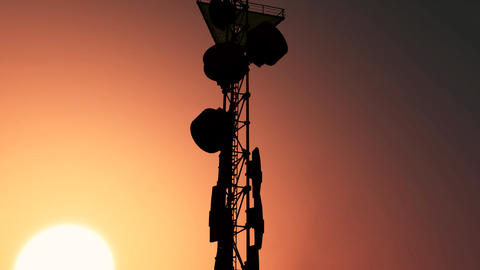 5G Telecommunication Tower Antennas Sunset 24 Animation