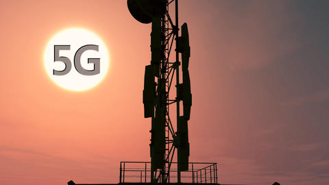 5G Telecommunication Tower Antennas Sunset 12 Animation