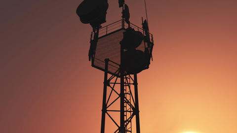 5G Telecommunication Tower Antennas Sunset 27 Animation