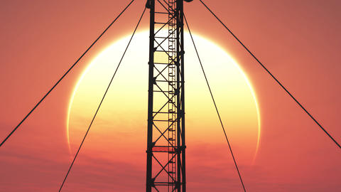 5G Telecommunication Tower Antennas Sunset 16 Animation
