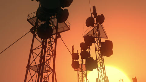 5G Telecommunication Tower Antennas Sunset 36 Animation