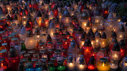 Many colorful candle lights at night Footage