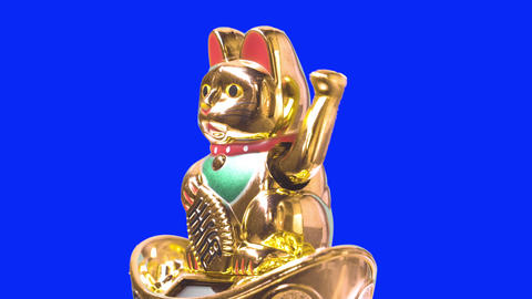 Side shot. Lucky cat or maneki neko with money symbol for chinese culture. Good fortune for lunar Live Action