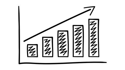 Hand-drawn bar chart with growth arrow and hatching Footage