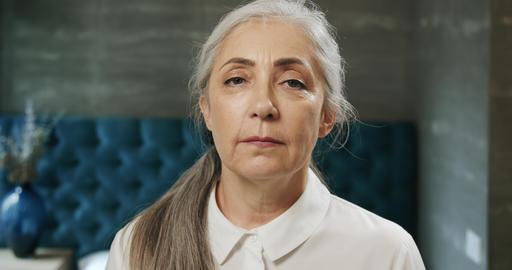 Elderly Lady's Portrait Indoors Footage