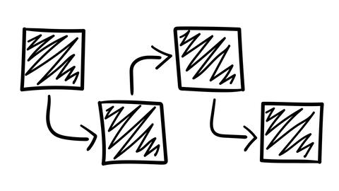 A hand-drawn infographic diagram of four shaded squares Footage