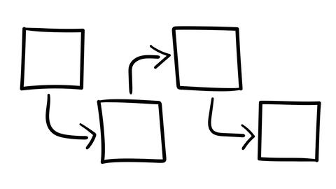 A hand-drawn infographic diagram of four squares Footage