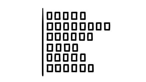 A hand-drawn horisontal bar chart consisting of segments Footage