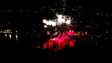 Fireworks over Heidelberg in Germany by Night GIF
