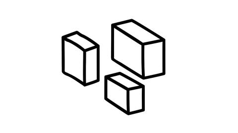 A hand-drawn infographic element - a box in isometry Footage