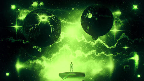 Green Sci-Fi Space Planets with Nebula & Stars Loop Motion Background Animation