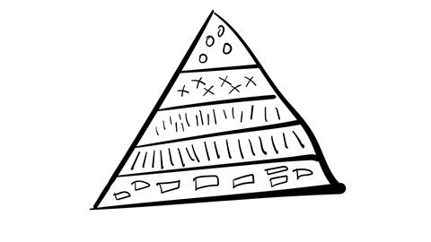 Hand-drawn infographic element - triangle divided into sectors Footage