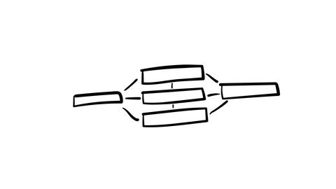 A hand-drawn infographic element of the connections of several elements Footage