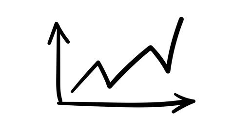 Hand-drawn sketchy line graph of active growth indicators Footage