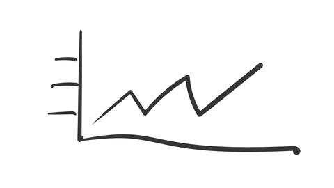 Freehand sketchy linear growth graph Footage