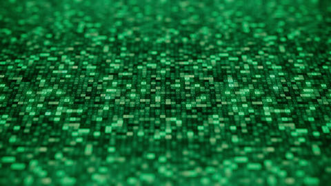 CODE word being made with flashing hexadecimal symbols on a green screen Footage