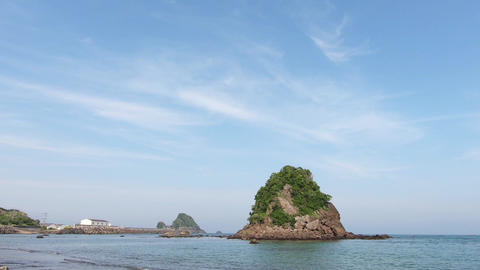 Japan coast scenery. Coast and small island Live Action