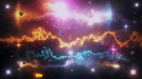 Sci-Fi Space Planets, Nebula, Stars & Light Rays Loop Background Animation