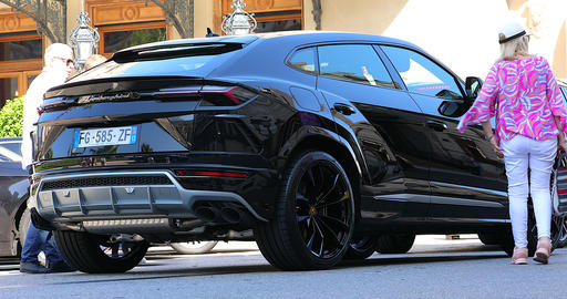 Black Lamborghini Urus SUV - Rear View Footage