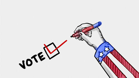 American Checking Ballot Watercolor 2D Animation Animation