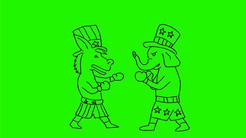 Democratic donkey and Republican elephant Fighting Drawing 2D Animation Animation