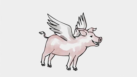 Pig With Wings Flying Watercolor 2D Animation Animation