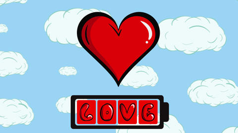 Charging heart battery and sky Animation