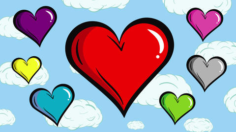 Colorful hearts with clouds background Animation