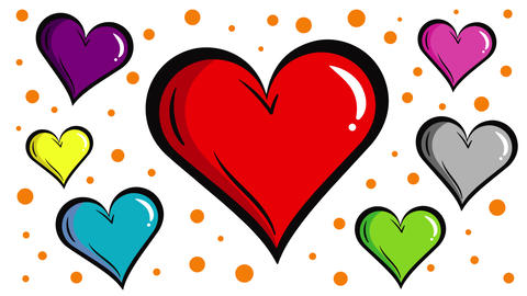Colorful hearts with positive background Animation
