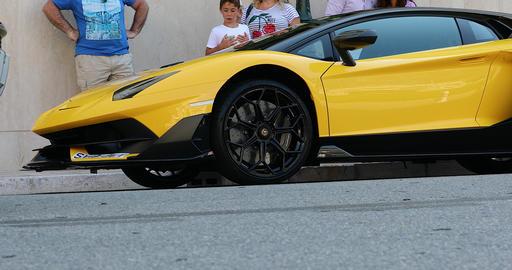 Beautiful Black And Yellow Lamborghini SVJ - Side View Footage
