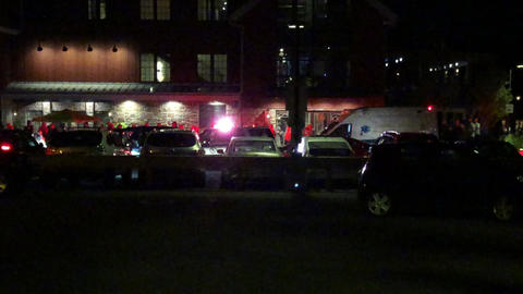 Emergency Vehicles At The Scene at Night Footage