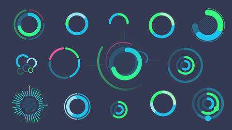 Set of infographics with circle graphs and charts Videos animados