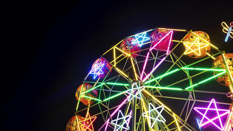 Ferris wheel spin around with colorful neon. symbol of star around Footage