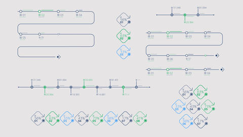 Schemes - timelines on a transparent background Animation