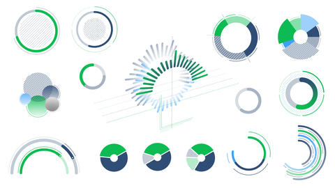 Circle charts and diagrams on the white background Videos animados