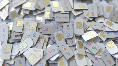 Many SIM cards with Google logo, close-up. Editorial telecommunication related ビデオ