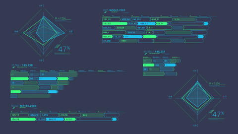 Several decorative infographic schemes on alpha channel Animation