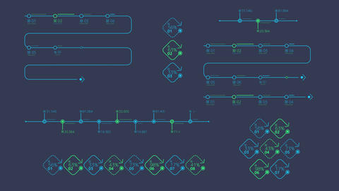 Infographic colored timelines on the alpha channel Animation