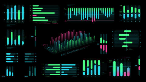 A set of decorative Bar charts on the black background Videos animados