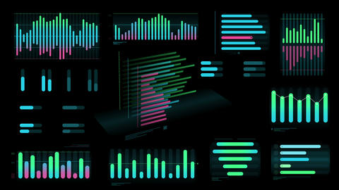 Several colored Bar charts on a black background Videos animados