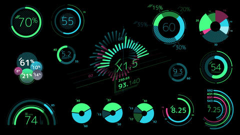 Circle colored graphics on a black background Animation